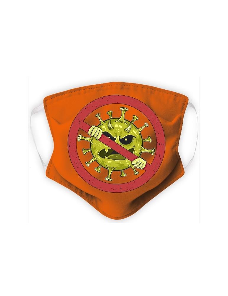 Masque Enfant en Tissu Lavable - Virus - orange