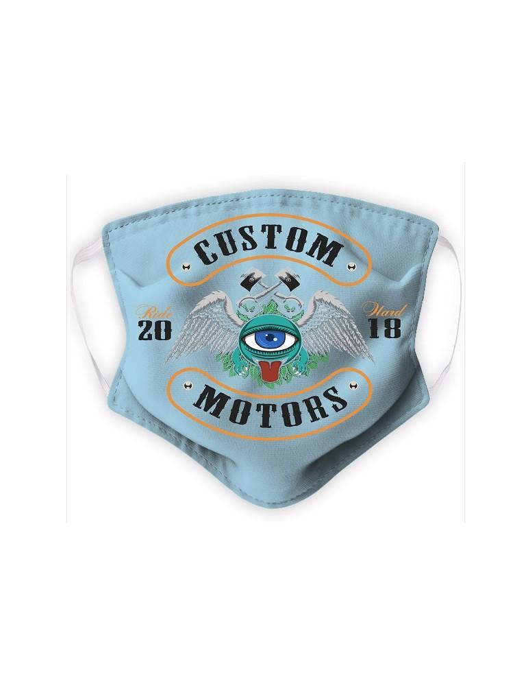 Masque Enfant en Tissu Lavable - Monster - bleu pale