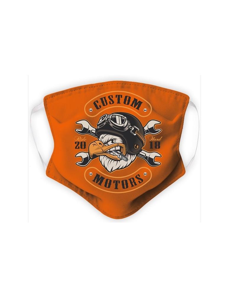 Masque Enfant en Tissu Lavable - Eagle Biker - orange