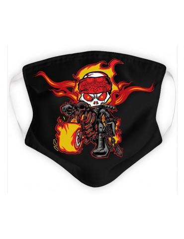 Masque Enfant en Tissu Lavable - Skull Biker - noir