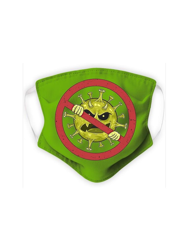 Masque adulte en Tissu Lavable - Virus - green