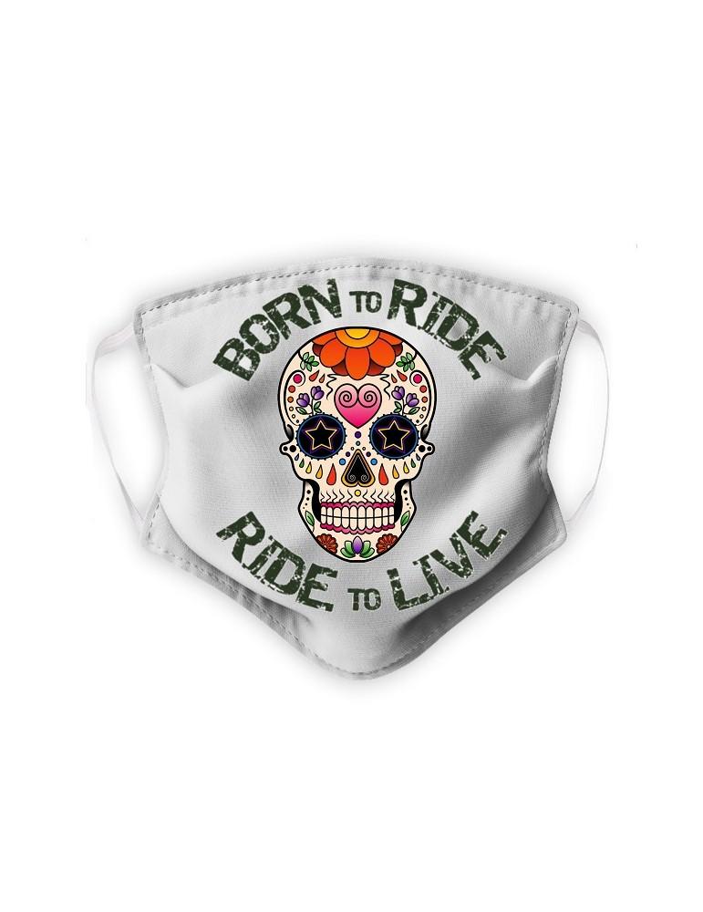 Masque Adulte en Tissu Lavable - Tête de Mort Mexicaine - blanc