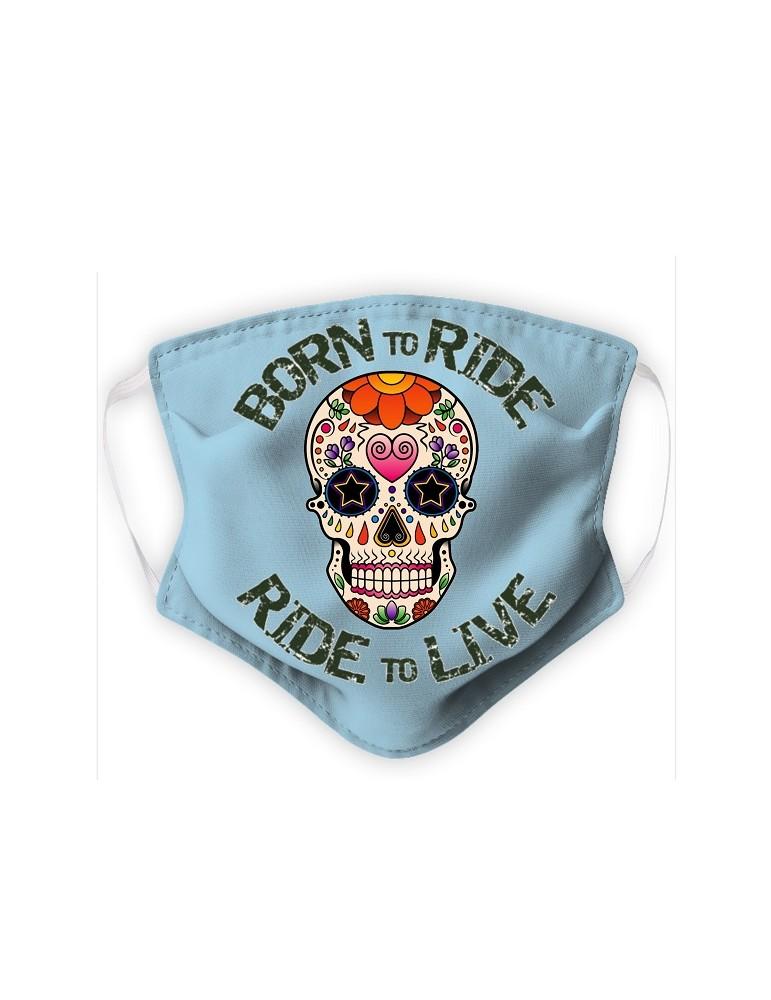 Masque Adulte en Tissu Lavable - Tête de Mort Mexicaine - bleu pale