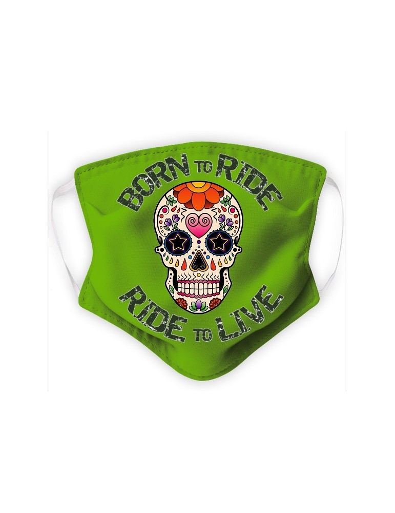 Masque Adulte en Tissu Lavable - Tête de Mort Mexicaine - green