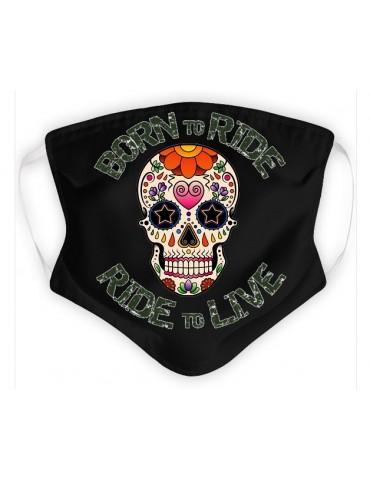 Masque Adulte en Tissu Lavable - Tête de Mort Mexicaine - noir