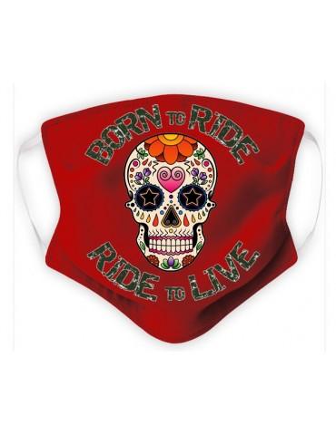 Masque Adulte en Tissu Lavable - Tête de Mort Mexicaine - red