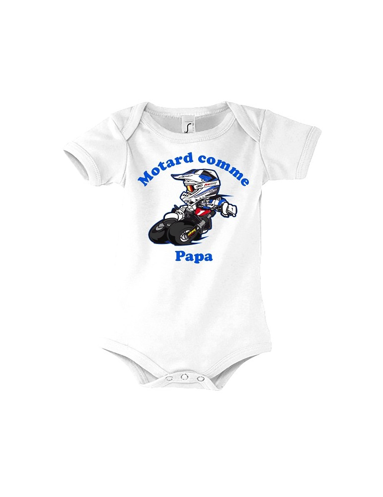Body Motard comme Papa - Bébé Motard - vue de face - bleu