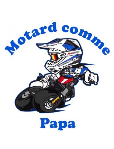 Body Motard comme Papa - Bébé Motard - détail - bleu