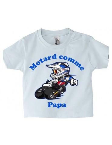 Tee-shirt Bébé Motard - Motard comme Papa - bleu