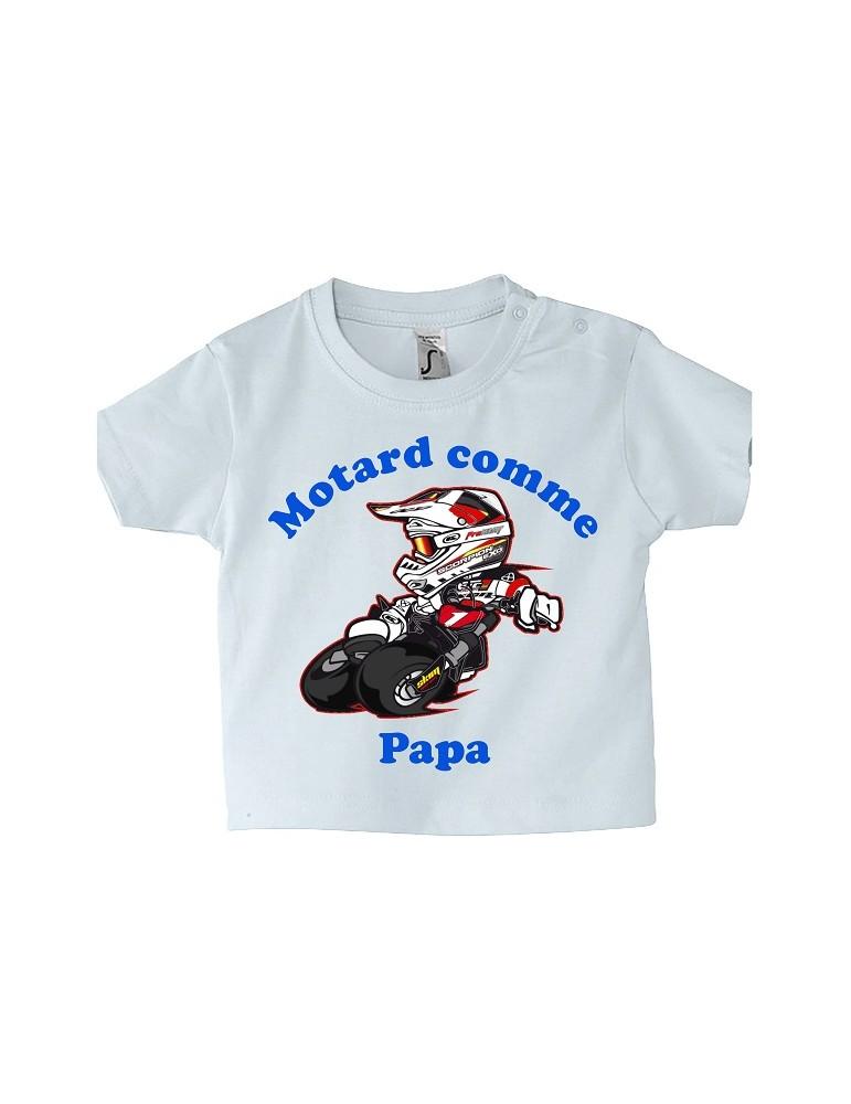 Tee-shirt Bébé Motard - Motard comme Papa - rouge