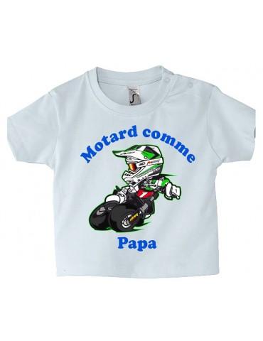 Tee-shirt Bébé Motard - Motard comme Papa - vert
