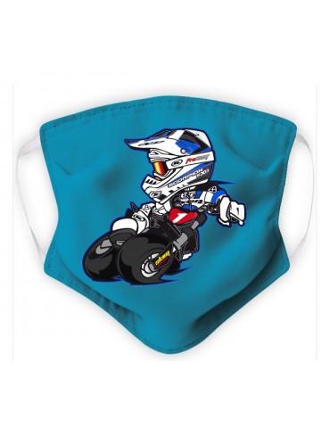 Masque Enfant en Tissu Lavable - Motocross - aqua