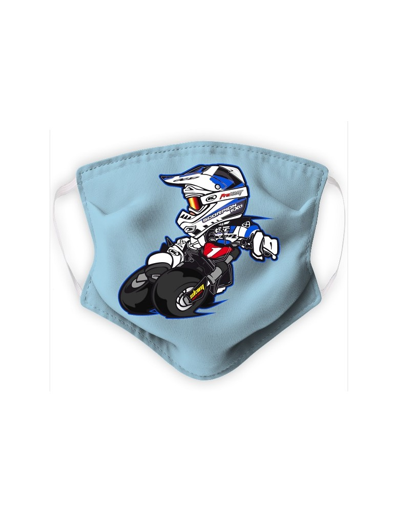 Masque Enfant en Tissu Lavable - Motocross - bleu pale