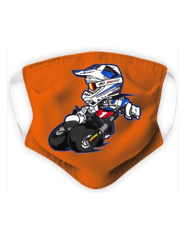 Masque Enfant en Tissu Lavable - Motocross - orange