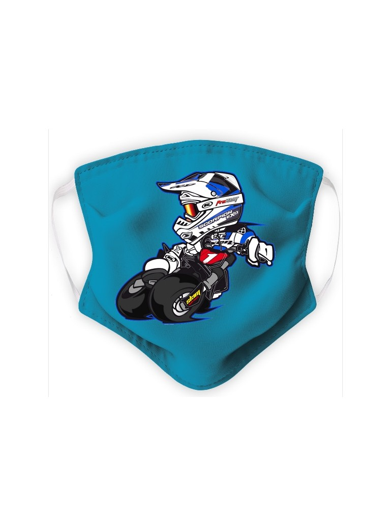 Masque Adulte en Tissu Lavable - Motocross - aqua