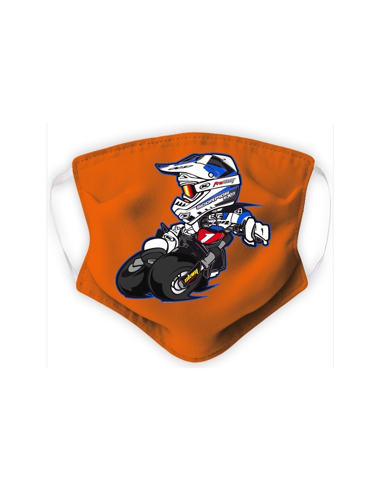 Masque Adulte en Tissu Lavable - Motocross - orange