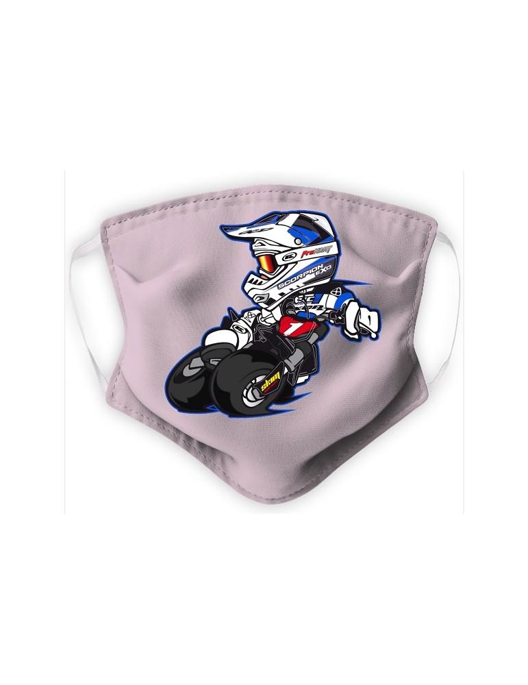 Masque Adulte en Tissu Lavable - Motocross - rose pale