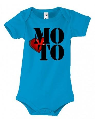 Body Love Moto - j'aime la moto - Bébé Motard - aqua - face