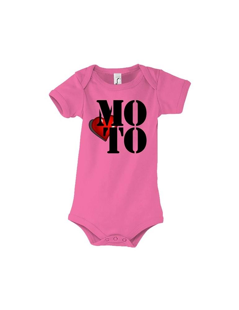 Body Love Moto - j'aime la moto - Bébé Motard - rose - face